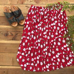 Vintage Leslie Fay Red Floral Pleated Midi Skirt